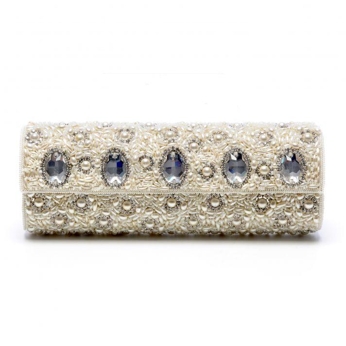 Jewel-adorned wedding clutch by Tejani