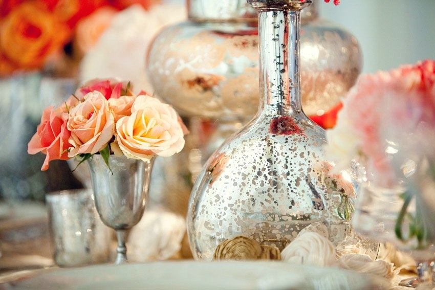 Anthropologieinspired wedding reception decor with vintage chic mercury