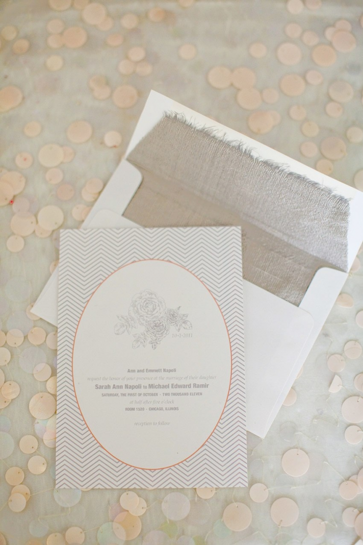 Anthropologie-inspired grey and peach wedding invitations