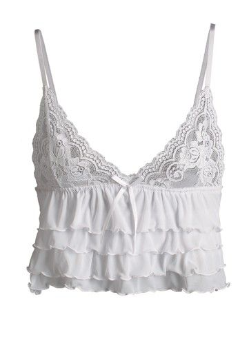 Deep v-neck white lace wedding day lingerie top