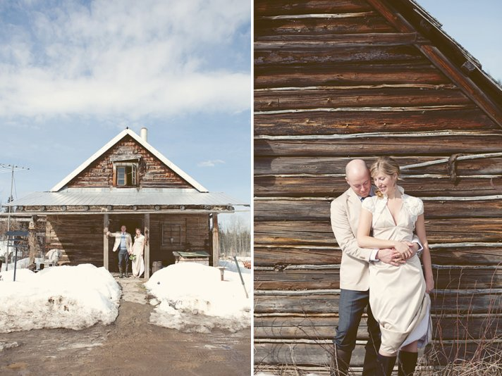 Casual bride and groom pose outside for romantic wedding photos