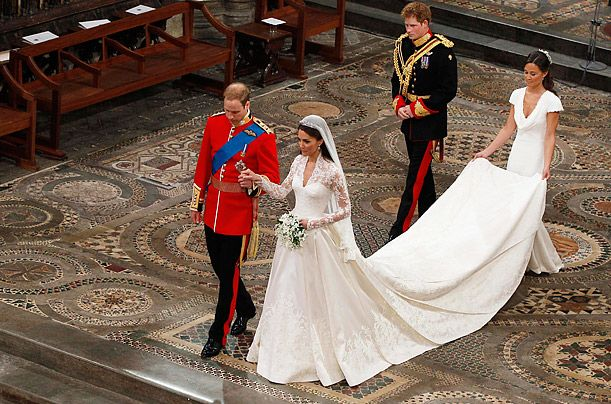 Prince William and Kate Middleton walk down the aisle