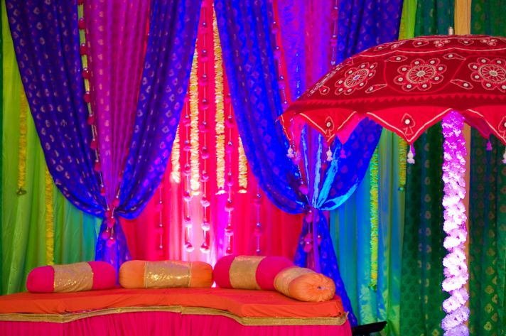 Pre-wedding festivities with bold color palette for NYC Indian wedding