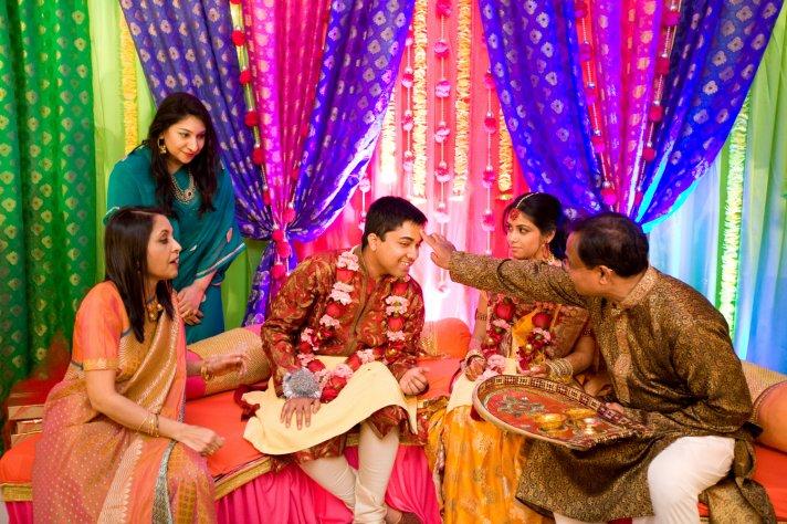 Indian groom takes part in pre-wedding ceremonies