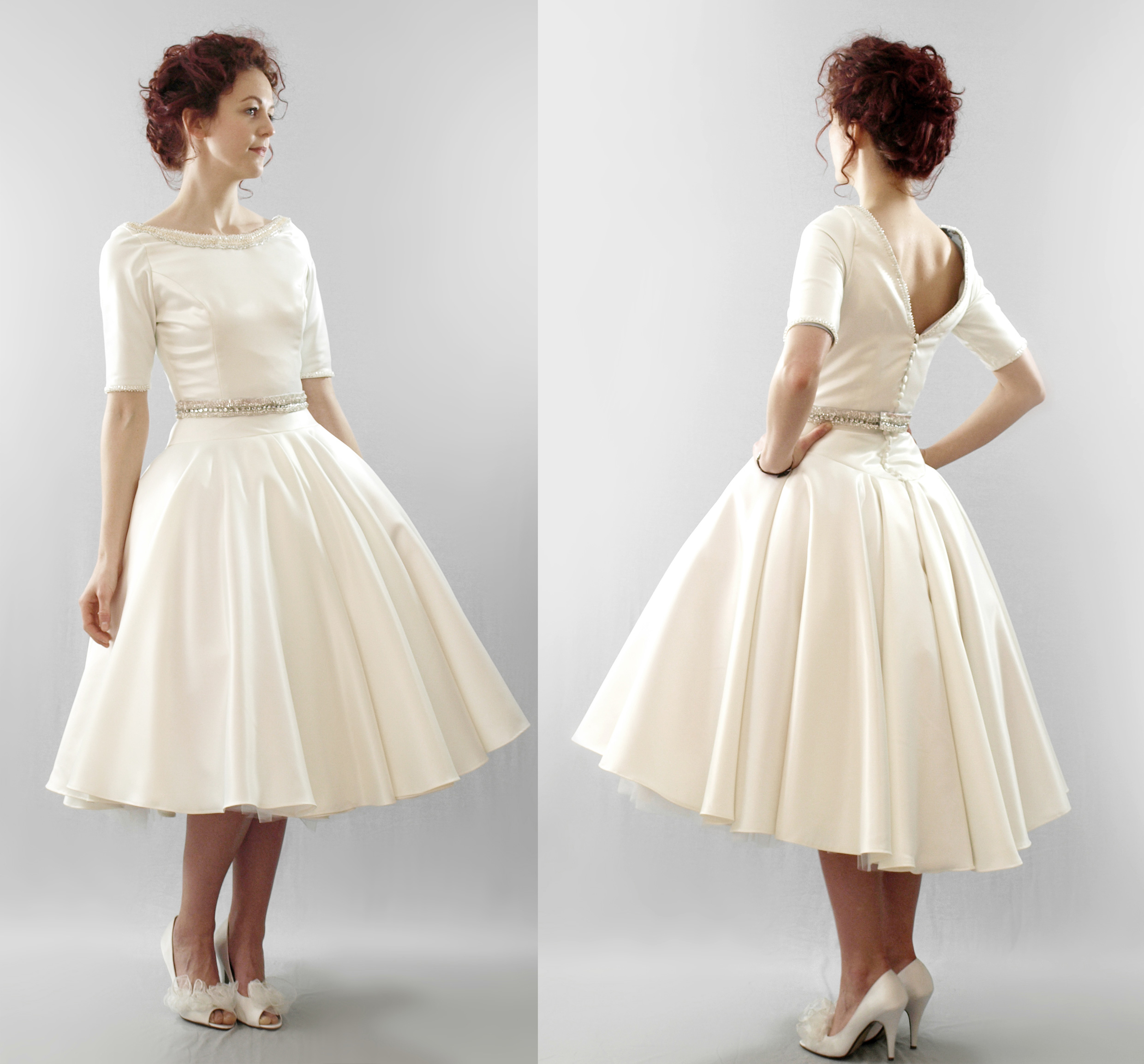 Tea length vintage wedding dresses cheap wedding dresses for Vintage wedding dresses tea length