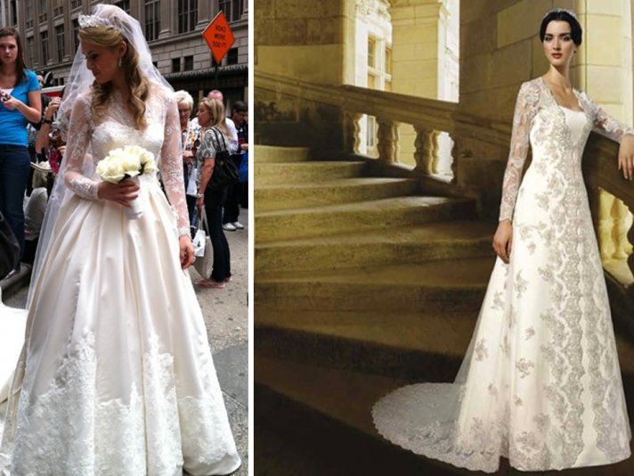Two Kate Middleton royal wedding gown knockoffs by Mori Lee and Oleg Cassini