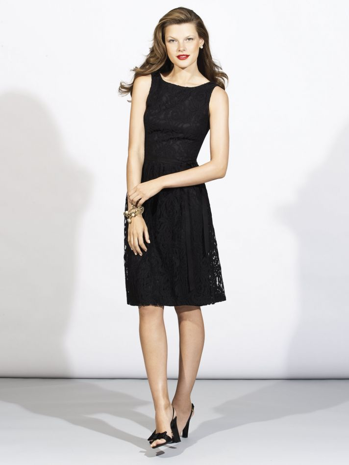 Figure flattering LBD with high neckline for your chic bridesmaids!