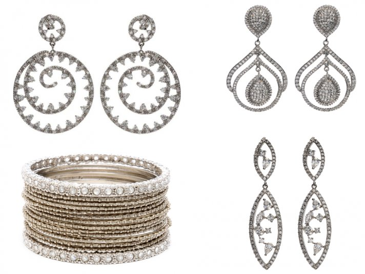 Vintage-inspired bridal earrings from Tejani