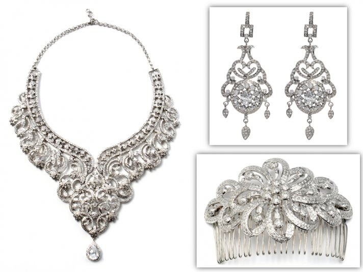Dazzling statement bridal necklace, chandelier earrings and hair comb