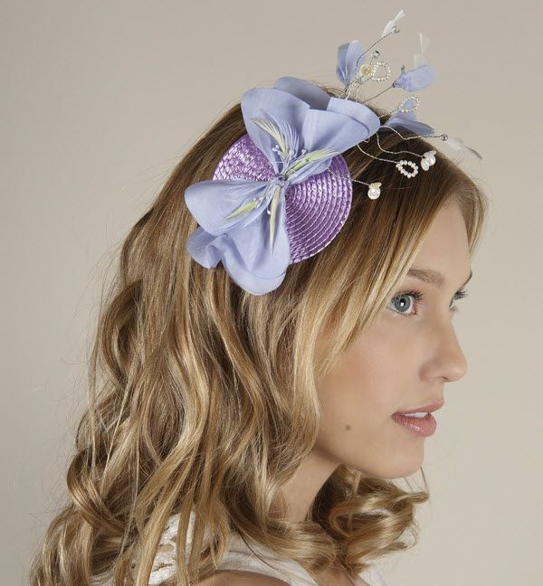 Spring wedding chic, pastel blue and purple wedding guest fascinator