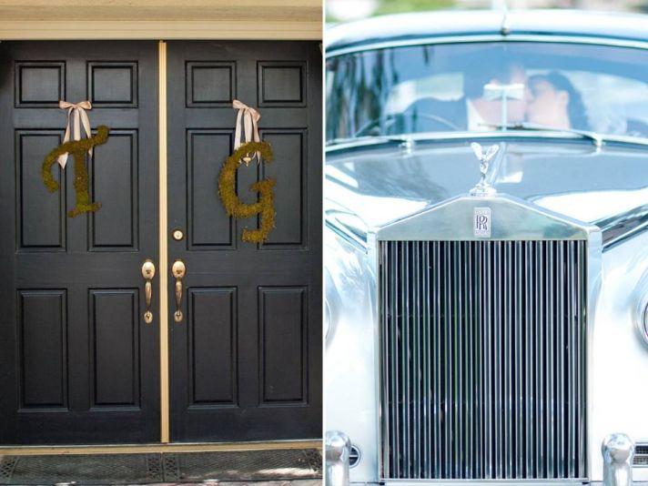 Custom monogram wedding signs hang on ceremony door, vintage Rolls Royce wedding day ride