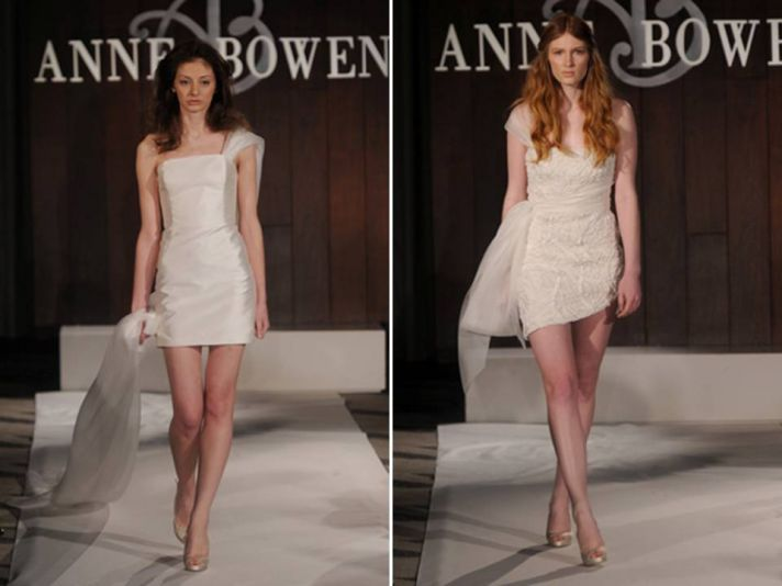 Chic mini wedding reception dresses from Anne Bowen's Spring 2012 bridal line