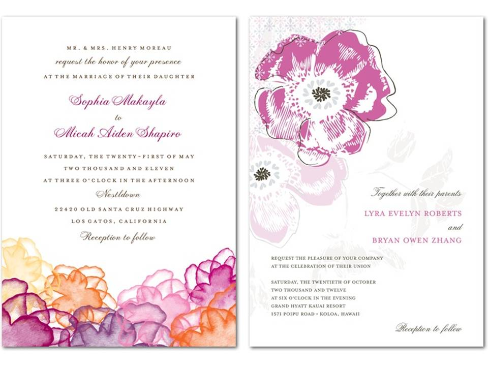Purple coral and peach spring or summer wedding invitations and stationery