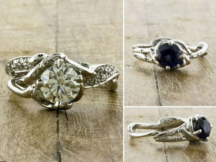 Eco-friendly recycled gold engagement rings; organic engagement ring with non-diamond center stone