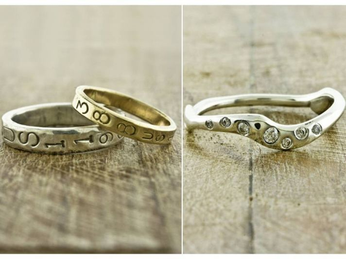 Recycled gold wedding bands with wedding date engraved in bands