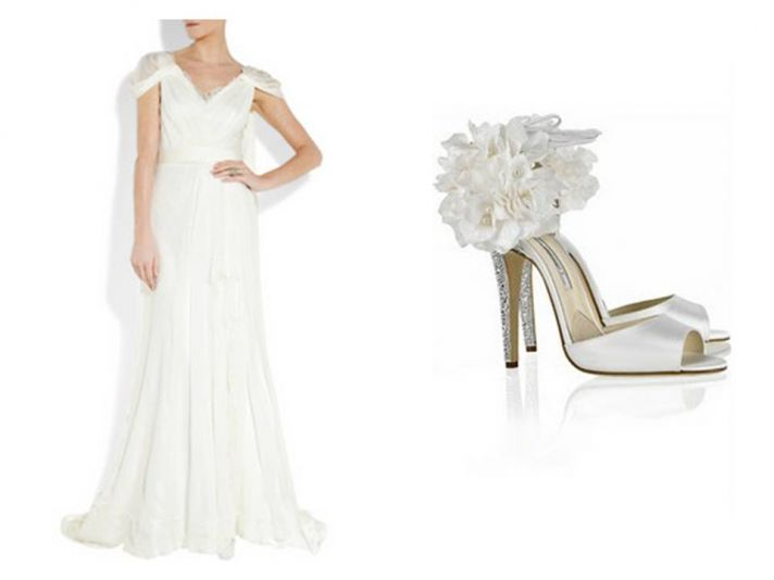Simple white a-line wedding dress with lovely cap sleeves and Brian Atwood wedding heels