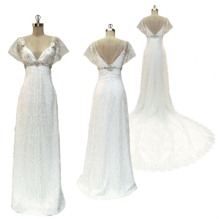 White v-neck empire wedding dress with beaded sash below bust and romantic chapel length train