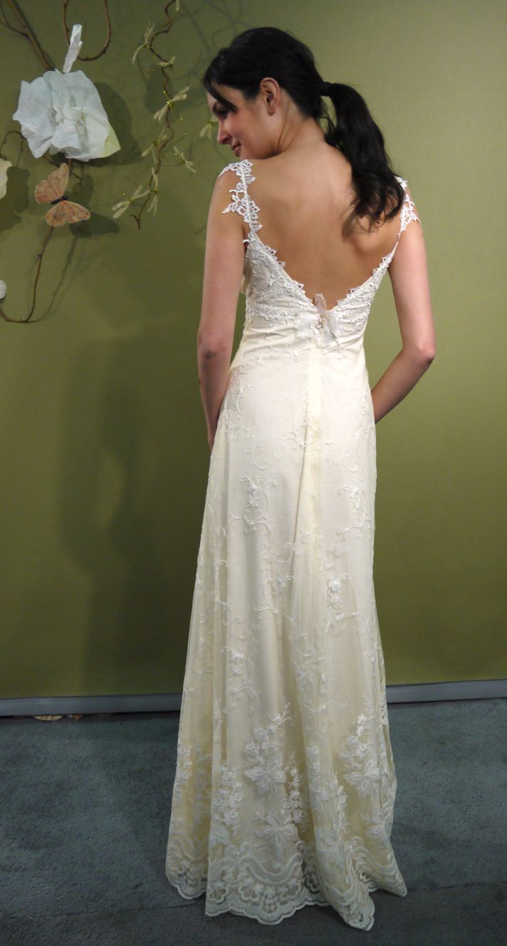 Fall 2011 Claire Pettibone romantic ivory lace wedding dress with deep v in back for sultry open bac