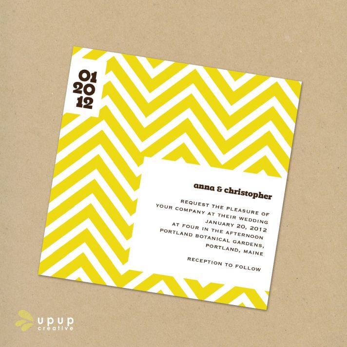Modern white, yellow and black eco-friendly DIY wedding invitation with mod geometric pattern