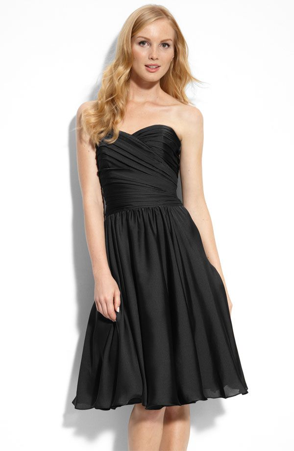 Chic black bridesmaid dress in MOnique Lhuillier's new ML bridesmaid collection