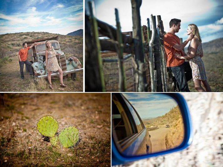 Rustic wild west inspired Arizona engagement session