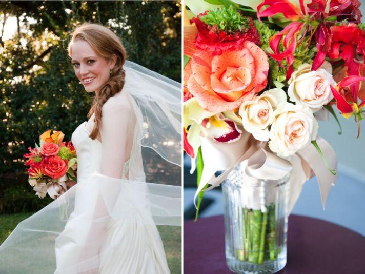 Classic Alabama bride wears ivory strapless wedding dress, holds bright wedding flowers bridal bouqu