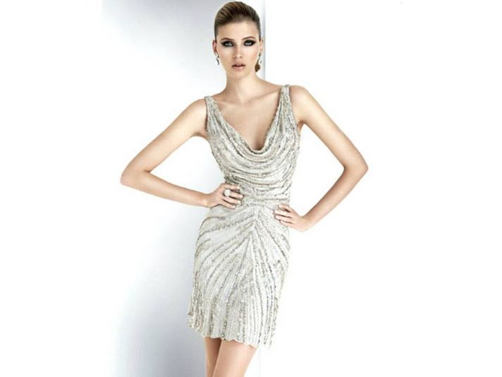 Chic cowl neck metallic beaded wedding reception dress by Pronovias