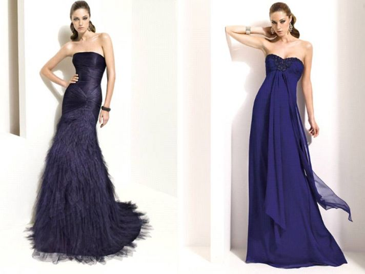 Pronovias bridesmaids' dresses in midnight blue for fall or winter wedding