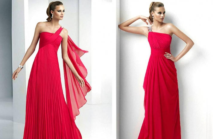 red-bridesmaids-dresses-one-shoulder-grecian-inspired-pronovias-bridal-collection