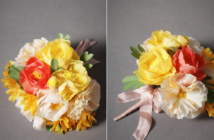 vibrant-citrus-wedding-color-palette-summer-weddings-paper-bridal-bouquet