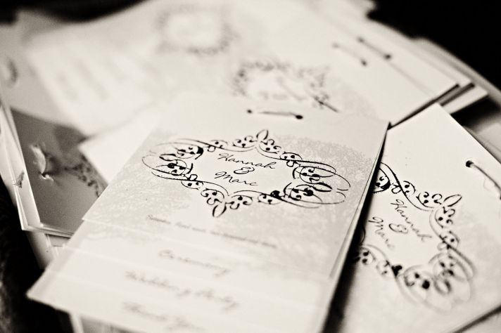 Chic black and white letterpress wedding invitations