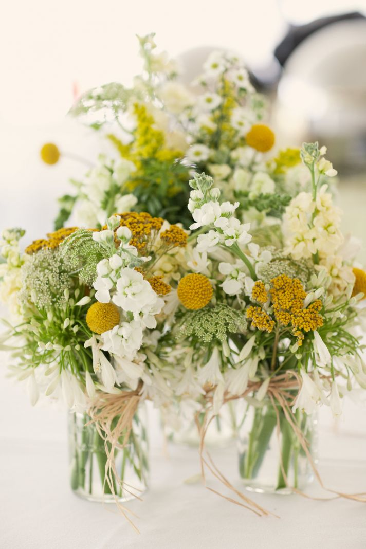 spring wedding yellow white wedding flower centerpieces