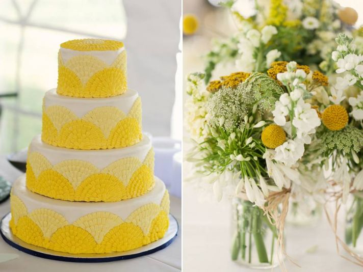 White and yellow 4-tier round wedding cake and whimsical wedding flower centerpieces