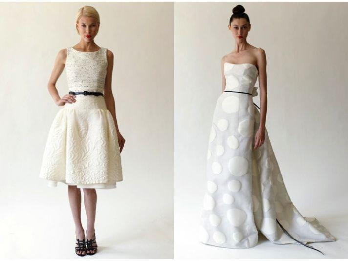 Chic bateau neck little white dress and strapless modified a-line wedding dress by Carolina Herrera