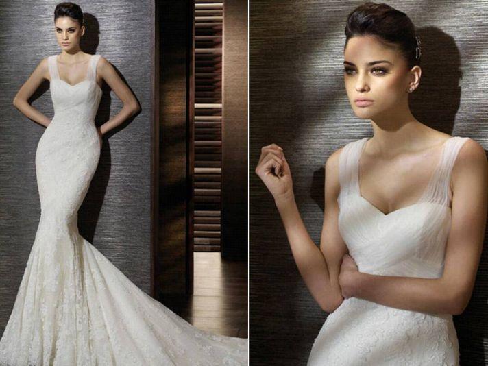 Romantic ivory mermaid San Patrick wedding dress with illusion sleeves