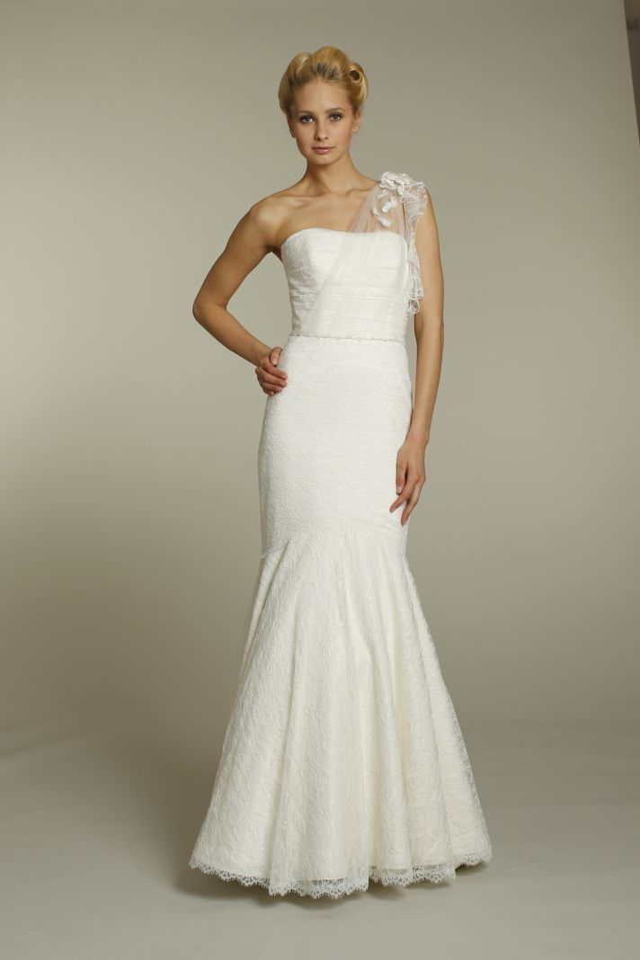 Romantic ivory drop-waist trumpet wedding dress with one sheer shoulder and thin bridal belt