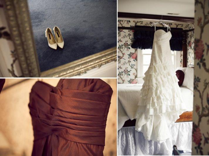 Real fall wedding in North Carolina with closed-toe ivory bridal heels by Nina