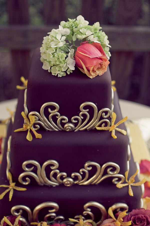 Gorgeous fall wedding cake- 3-tier fondant chocolate brown with gold scroll pattern