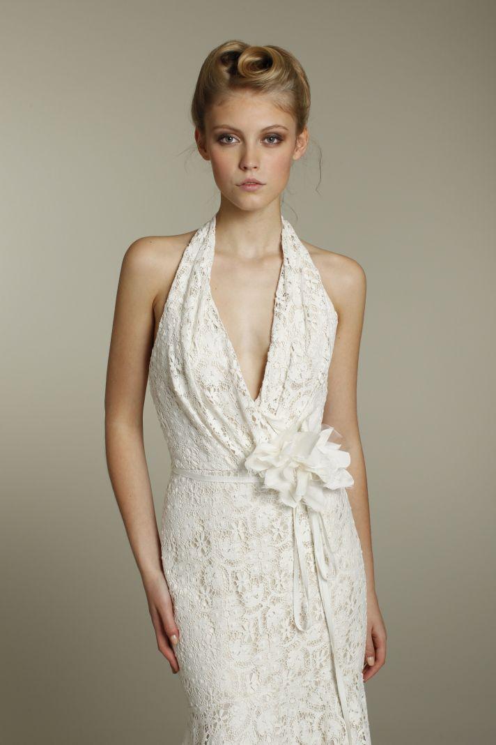 Romantic lace mermaid halter wedding dress with embellished bridal belt