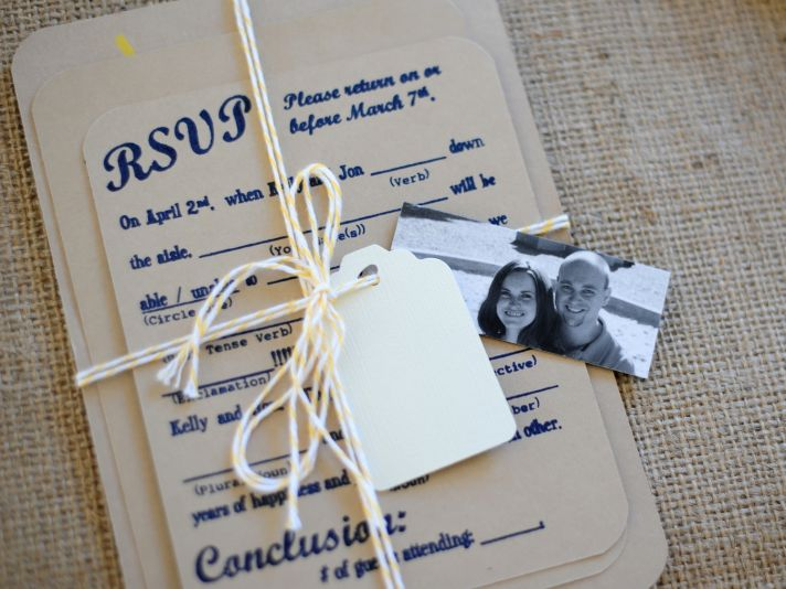 Rustic chic linen and navy blue personalized wedding invitation set