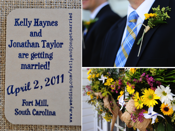 Linen and navy wedding invitations white and yellow rustic chic wedding