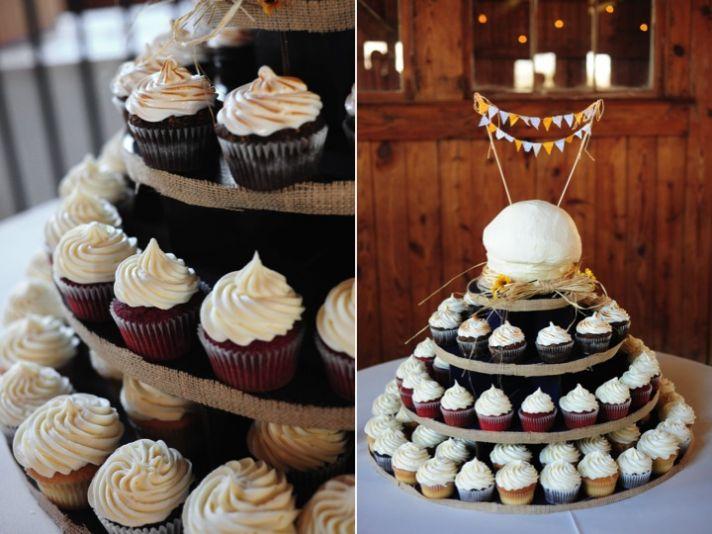 Delicious cupcake tree at rustic chic South Carolina wedding reception
