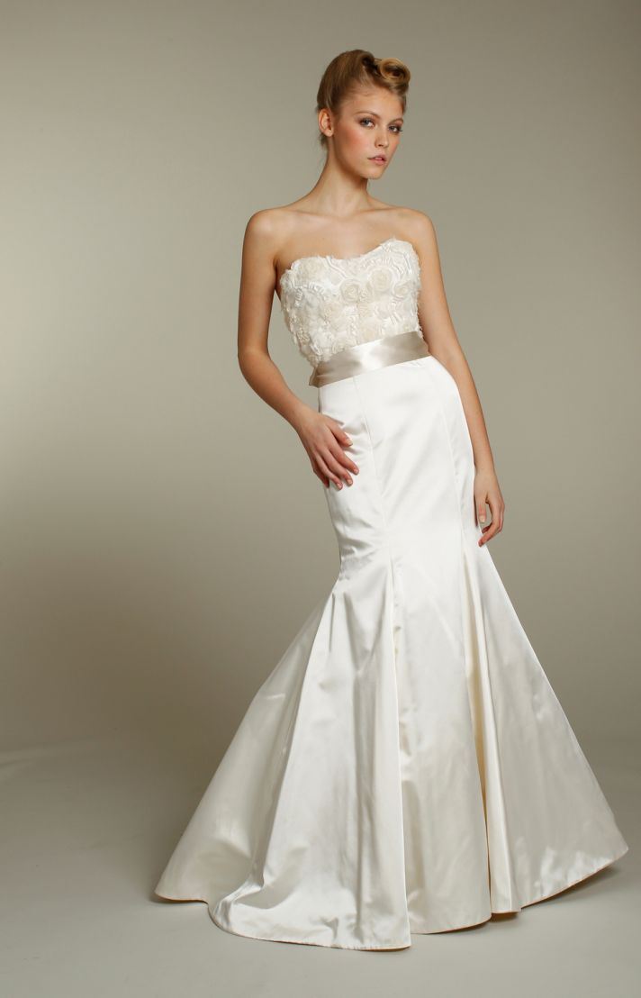 Ivory strapless mermaid wedding dress with embellished bodice