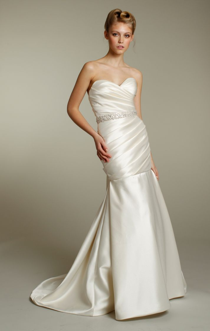 Luxe ivory sweetheart neckline drop-waist mermaid wedding dress with beaded bridal sash