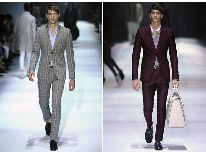 Offbeat groom's attire- tailored grey plaid suit and maroon tuxedo- from Gucci Spring 2012