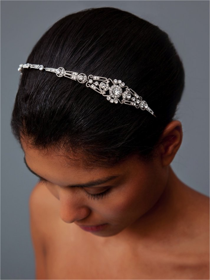 Chic rhinestone-encrusted bridal headband for wedding updo