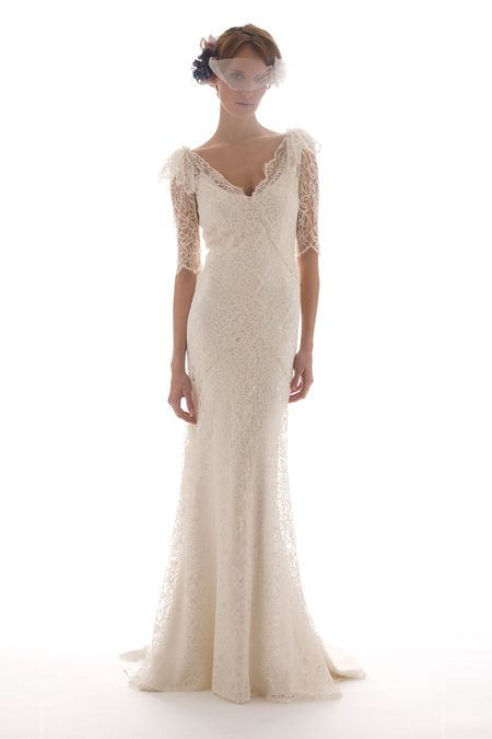 mermaid wedding dresses with 3/4 sleevesFlawless Head to Toe  Elizabeth Fillmore Bridal Gowns 2011 OneWed cy4NnFuq