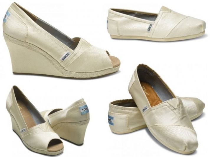 Casual and chic ivory TOMS wedding shoes- wedge peep-toes and flat closed toe bridal shoes
