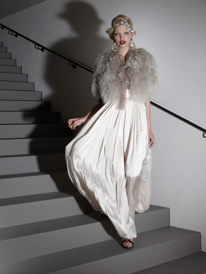 Vintage-inspired Lanvin bridal gown and fur shrug
