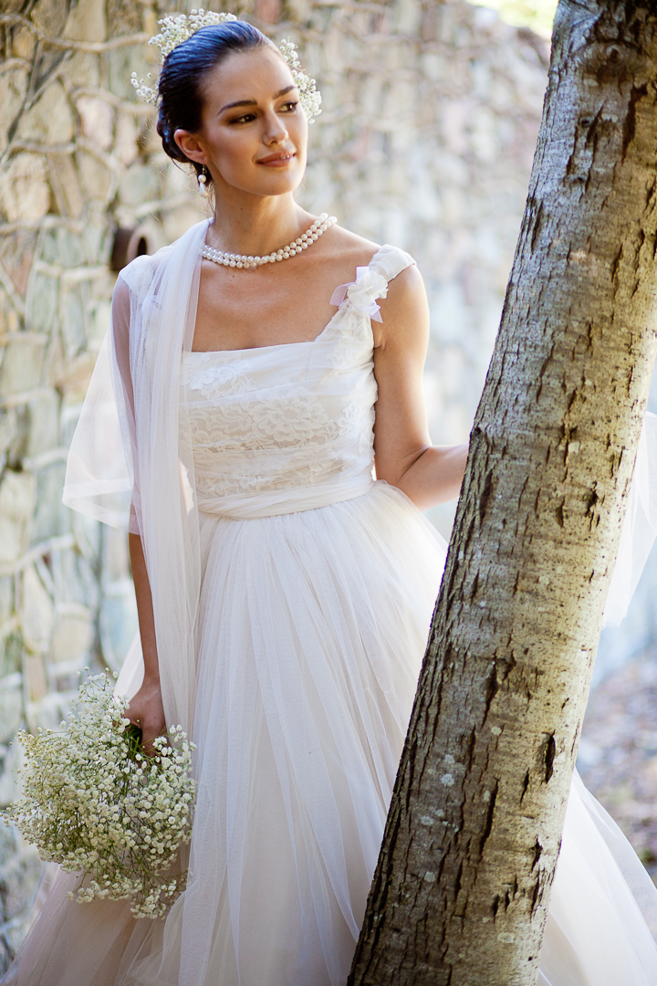 Vintageinspired tea length summer wedding dress